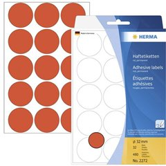 Etichette Ø 32 mm Carta Rosso 480 pz. Permanente Etichetta di identificazione a forma di bollino
