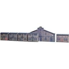 6 facciate industriali da costruire con cartone in rilievo H0