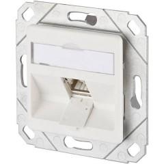 Presa di rete Da incasso Inserto con piastra centrale CAT 6A 1 Porta Bianco puro