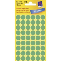 Etichette Ø 12 mm Carta Verde 270 pz. Permanente Etichetta di identificazione a forma di bollino