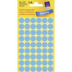Etichette Ø 12 mm Carta Blu 270 pz. Permanente Etichetta di identificazione a forma di bollino