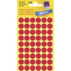 Etichette Ø 12 mm Carta Rosso 270 pz. Permanente Etichetta di identificazione a forma di bollino
