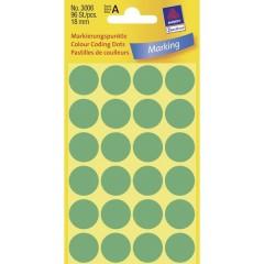 Etichette Ø 18 mm Carta Verde 96 pz. Permanente Etichetta di identificazione a forma di bollino