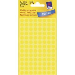 Etichetta di identificazione a forma di bollino Ø 8 mm Giallo 416 pz. Permanente Carta