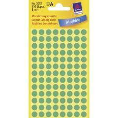 Etichetta di identificazione a forma di bollino Ø 8 mm Verde 416 pz. Permanente Carta