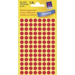 Etichetta di identificazione a forma di bollino Ø 8 mm Rosso 416 pz. Permanente Carta