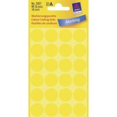 Etichette Ø 18 mm Carta Giallo 96 pz. Permanente Etichetta di identificazione a forma di bollino