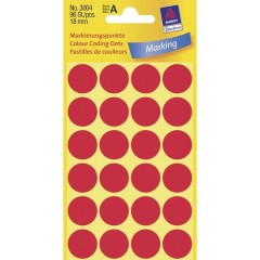 Etichette Ø 18 mm Carta Rosso 96 pz. Permanente Etichetta di identificazione a forma di bollino
