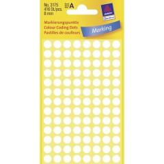 Etichetta di identificazione a forma di bollino Ø 8 mm Bianco 416 pz. Permanente Carta