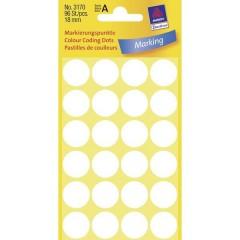 Etichette Ø 18 mm Carta Bianco 96 pz. A tenuta permanente Etichetta di identificazione a forma di
