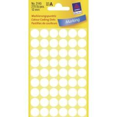 Etichette Ø 12 mm Carta Bianco 270 pz. Permanente Etichetta di identificazione a forma di bollino