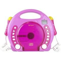 X4 Tech Bobby Joey Lettore CD per bambini CD, SD, USB incl. Microfono Rosa