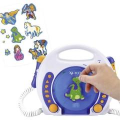 X4 Tech Bobby Joey Lettore CD per bambini CD, SD, USB incl. Microfono Blu