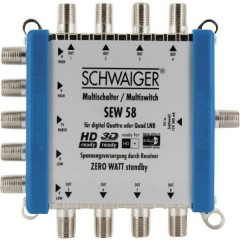 Schwaiger SEW58 531 SAT multiswitch Ingressi (Multiswitch): 5 (4 satellitare / 1 terrestre) Numero utenti: 8 Funzione