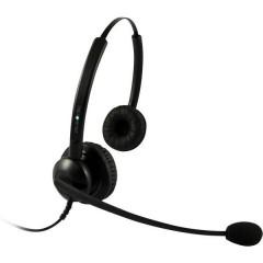 plusonic 5512-5.2P Cuffia telefonica QD (Quick Disconnect) Stereo, Filo Cuffia On Ear Nero
