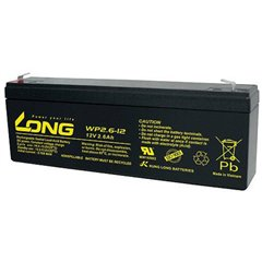 Long Batteria al piombo 12 V 2.6 Ah Piombo-AGM (L x A x P) 178 x 66 x 35 mm Spina piatta 4,8 mm Bassa