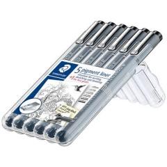 Staedtler PIGMENT-LINER, 6 LINIENBREITEN,SCHWARZ Pennarello punta fine Nero 0.05 mm, 0.1 mm, 0.2 mm, 0.3 mm,