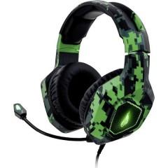 Surefire Gaming Skirmish Cuffia Headset per Gaming Jack 3,5 mm Stereo, Filo Cuffia Over Ear Verde Mimetico