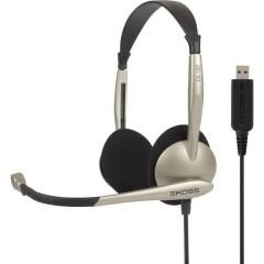 KOSS CS100 Cuffia Headset per PC USB Filo Cuffia On Ear Nero, Oro