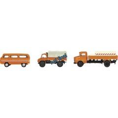 Schuco H0 Volkswagen, Mercedes Benz Kit da 3 pz. VW T2, Unimog 404, MB LG 322