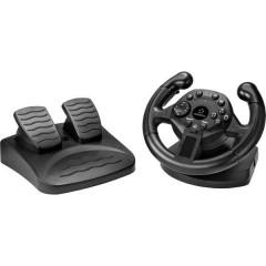 Renkforce RF-GW-200 Volante incl. Pedale USB PC, PlayStation 3 Nero