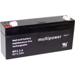 multipower PB-6-3,3-4,8 Batteria al piombo 6 V 3.3 Ah Piombo-AGM (L x A x P) 134 x 65 x 34 mm Spina piatta 4,8