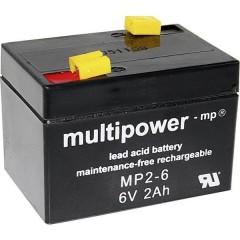 multipower MP2-6 Batteria al piombo 6 V 2 Ah Piombo-AGM (L x A x P) 75 x 53 x 51 mm Spina piatta 4,8 mm Esente da